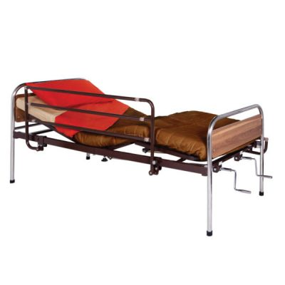 Patient bed for home care, with two cranks
